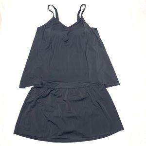 Denim & Co. Hi-Low Tankini Swimsuit + Skirt black